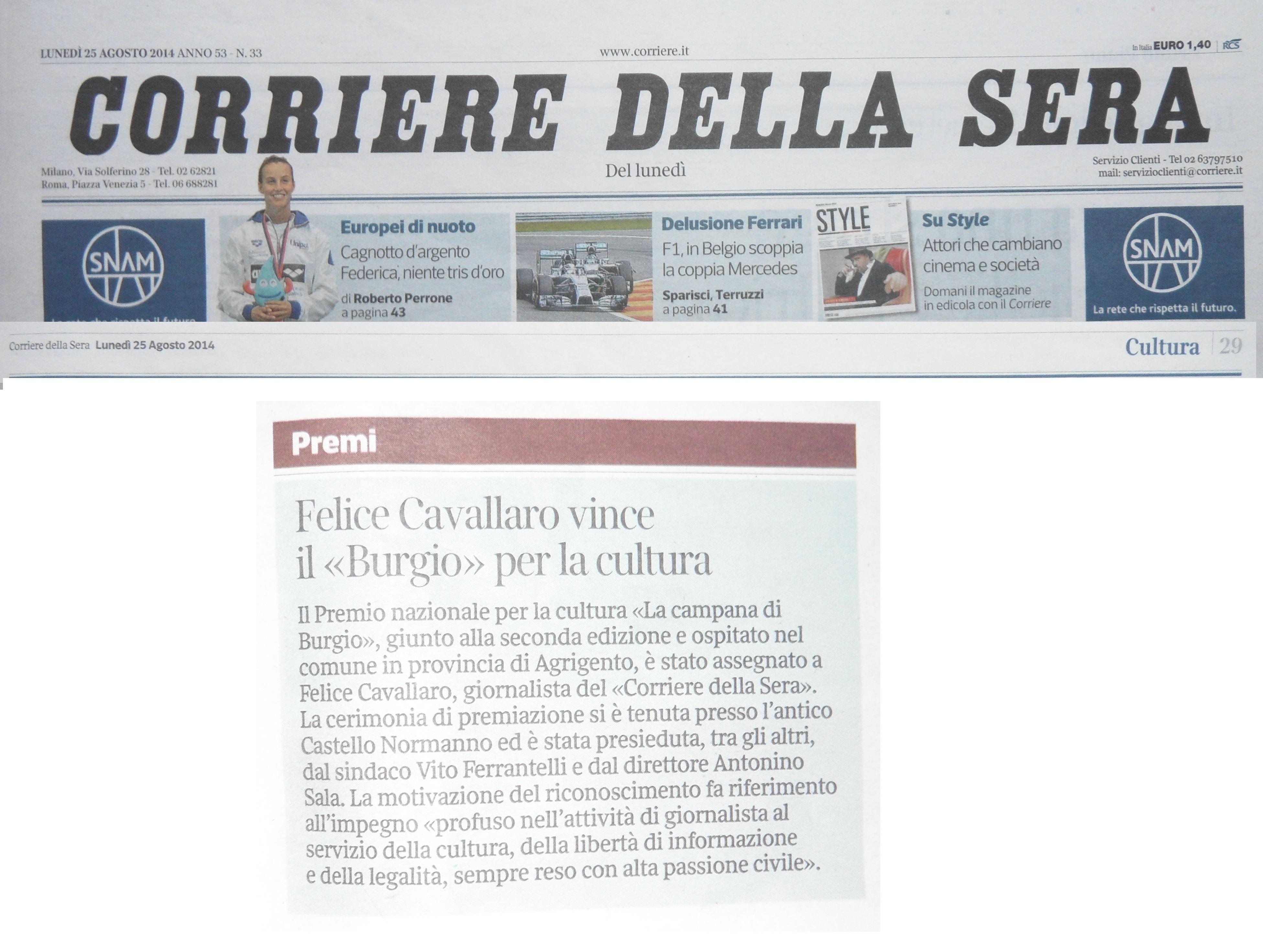 Oggi sulla pagina nazionale della cultura del corriere for Corriere della sera arredamento